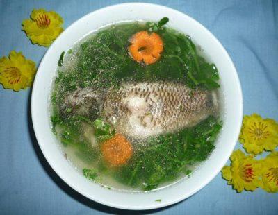 canh rau đắng nấu cá