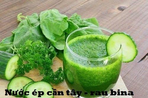 Nước ép cần tây mix cam, rau bina và rau mùi