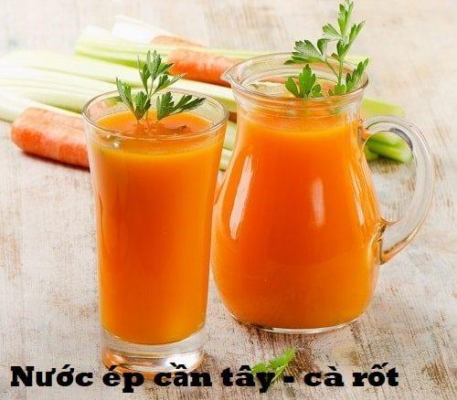 Nước ép cần tây, cà rốt và dưa chuột